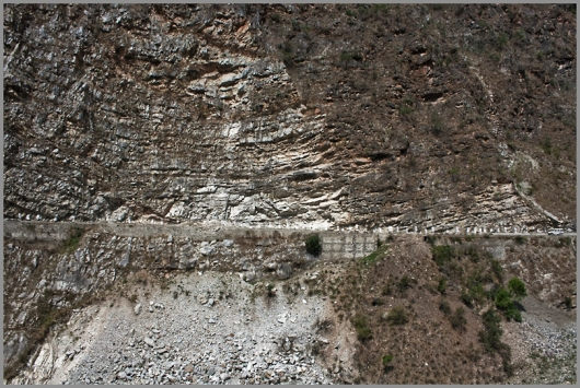 Kinnaur Valley - the roads have been, quite literally cut through rocks to make way for traffic.
