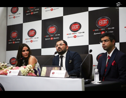 At the press-conference (From L to R): Ms.Neha Dhupia, Bollywood actress, Mr.Jatin Ahuja (President - BBT) & Mr.Nipun Miglani (Director-Sales, BBT)