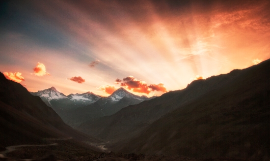 The sun setting behind the beautiful Himalayas